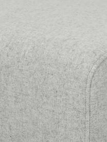 Hocker Archie in Hellgrau mit Wollbezug und Holz-Füßen, Bezug: 100% Wolle 30.000 Scheuer, Gestell: Kiefernholz, Füße: Massives Eichenholz, geöl, Webstoff Hellgrau, 87 x 45 cm