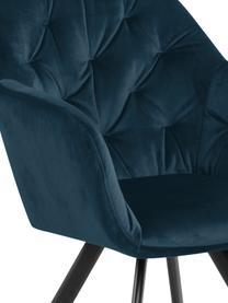 Sedia girevole con braccioli in velluto Lucie, Rivestimento: velluto di poliestere Con, Gambe: metallo verniciato a polv, Velluto blu scuro, Larg. 58 x Prof. 62 cm