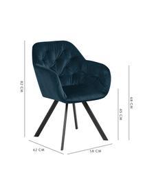 Krzesło obrotowy z aksamitu Lucie, Tapicerka: aksamit poliestrowy Dzięk, Nogi: metal malowany proszkowo, Aksamitny ciemny niebieski, S 58 x G 62 cm