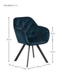 Drehbarer Samt-Armlehnstuhl Lucie in Blau, Bezug: Polyestersamt Der hochwer, Beine: Metall, pulverbeschichtet, Samt Dunkelblau, Schwarz, B 58 x T 62 cm