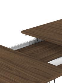 Table extensible avec pieds en métal Aero, Bois de noyer