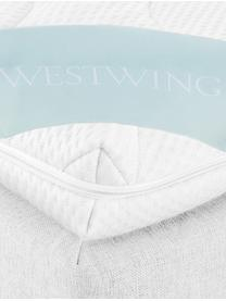Premium Boxspringbett Eliza, Matratze: 7-Zonen-Taschenfederkern , Füße: Massives Buchenholz, lack, Helles Weiß-Grau, 180 x 200 cm