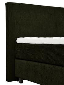 Premium Cord-Boxspringbett Eliza in Dunkelgrün, Matratze: 5-Zonen-Taschenfederkern, Füße: Massives Birkenholz, lack, Cord Dunkelgrün, 200 x 200 cm