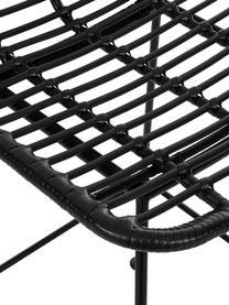 Krzesło barowe z polirattanu Sola, Stelaż: metal malowany proszkowo, Czarny, S 56 x W 98 cm