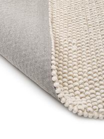 Handgenähter Wollteppich Lovisa in Elfenbein meliert, Flor: 60% Wolle, 40% Viskose, Elfenbeinfarben, B 200 x L 290 cm (Größe L)