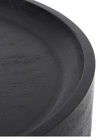Beistelltisch Benno aus Mangoholz in Schwarz, Massives Mangoholz, lackiert, Beton, Mangoholz, schwarz lackiert, ∅ 50 x H 50 cm