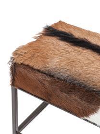 Ziegenfell-Sitzbank Country Life, Sitzfläche: Ziegenfell, Gestell: Stahl, lackiert, Sitzfläche: Ziegenfell Gestell: Stahl, lackiert, 140 x 47 cm