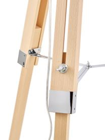 Tripod Stehlampe Josey aus Holz, Lampenschirm: Textil, Lampenfuß: Holz, Creme, Braun, Ø 70 x H 150 cm