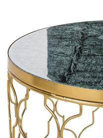 Tables d'appoint en marbre Blake, 2élém., Plateau: marbre vert Structure: couleur dorée, brillant