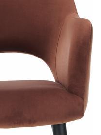 Fluwelen armstoel Rachel, Bekleding: fluweel (polyester), Poten: gepoedercoat metaal, Fluweel bruin, B 47 x D 64 cm