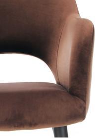 Sedia con braccioli in velluto marrone Rachel, Rivestimento: velluto (poliestere) 50.0, Gambe: metallo verniciato a polv, Velluto marrone, Larg. 64 x Prof. 47 cm