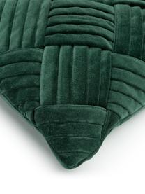Samt-Kissenhülle Sina in Dunkelgrün mit Strukturmuster, Samt (100% Baumwolle), Grün, 30 x 50 cm