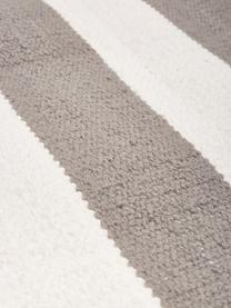 Gestreifter Baumwollteppich Blocker in Grau/Weiß, handgewebt, 100% Baumwolle, Grau, B 160 x L 230 cm (Größe M)