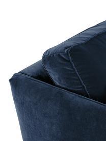 Divano 3 posti in velluto blu Paola, Rivestimento: velluto (poliestere) 70.0, Struttura: legno di abete rosso mass, Piedini: legno di abete rosso vern, Blu, Larg. 209 x Prof. 95 cm