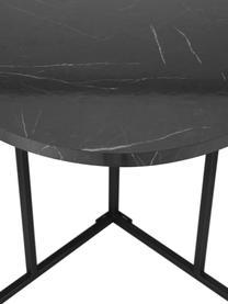 Ovale eettafel Luca in marmerlook, Tafelblad: MDF bekleed met mmelamine, Frame: gepoedercoat metaal, Zwart, B 240 x D 100 cm