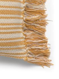 Gestreepte kussenhoes Puket, Katoen, Gebroken wit, mosterdgeel, 45 x 45 cm