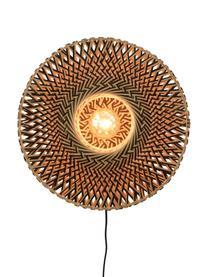 Wandlamp Bali met stekker, Lampenkap: bamboe, Beige, zwart, Ø 44 x H 44 cm