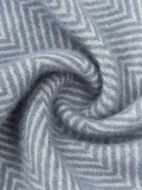 Wolldecke Tirol-Mona in Blau mit Fischgrätenmuster und Fransen, 100% Wolle, Blau, 140 x 200 cm