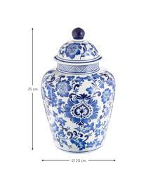 Große Deckelvase Annabelle aus Porzellan, Porzellan, Blau,Weiß, Ø 20 x H 35 cm