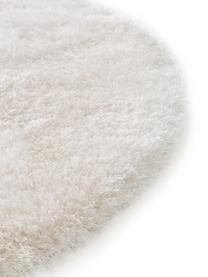 Glanzend hoogpolig vloerkleed Lea in wit, rond, Bovenzijde: 50% polyester, 50% polypr, Onderzijde: 100% jute, Wit, Ø 200 cm (maat L)