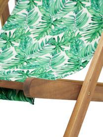 Klappbarer Liegestuhl Zoe, Gestell: Massives Akazienholz, geö, Grün,Weiß, B 59 x T 84 cm
