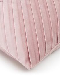 Federa arredo in velluto rosa Lucie, 100% velluto (poliestere) Si prega di tenere presente che il velluto apparirà di colore più chiaro o più scuro a seconda della luce e della direzione del tratto, Rosa cipria, Larg. 45 x Lung. 45 cm