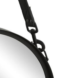 Kulaté nástěnné zrcadlo skoženým popruhem Liz, Černá