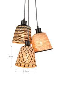 Petite suspension bohème bambou 3 lampes Kalimantan, Beige, noir