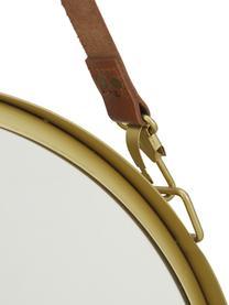 Runder Wandspiegel Liz mit brauner Lederschlaufe, Spiegelfläche: Spiegelglas, Rückseite: Mitteldichte Holzfaserpla, Gold, Ø 40 cm