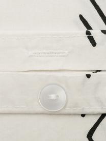 Pościel z bawełny z efektem sprania Kohana, Ecru, czarny, 135 x 200 cm