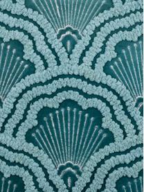 Bestickte Samt-Kissenhülle Chelsey mit Hoch-Tief-Muster, 100% Baumwollsamt, Petrol, 45 x 45 cm