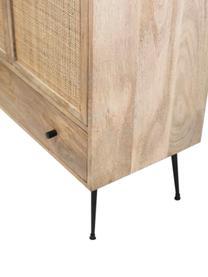 Mangoholz-Highboard Larry mit Geflecht, Korpus: Mangoholz, Beine: Metall, lackiert, Braun, Schwarz, 80 x 137 cm