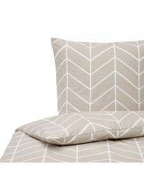 Baumwoll-Bettwäsche Mirja mit grafischem Muster, Webart: Renforcé Fadendichte 144 , Beige, Weiß, 240 x 220 cm + 2 Kissen 80 x 80 cm