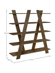 Libreria in aspetto legno Blow, Coperchio: Pannello di fibra a media, Albero di noce, Larg. 156 x Alt. 160 cm