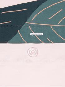 Pościel z satyny bawełnianej Flora, Przód: wielobarwny Tył: brudny różowy, 240 x 220 cm