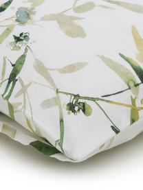 Katoensatijnen dekbedovertrek Rimba, Weeftechniek: satijn, Wit, groentinten, 200 x 220 cm