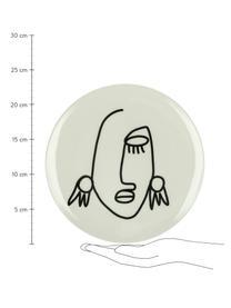 Talerz śniadaniowy Modiglia, 2 szt., Kamionka, Kremowobiały, czarny, Ø 23 cm