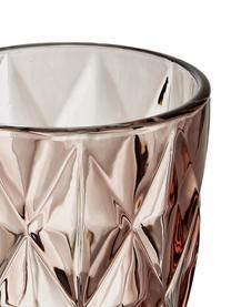 Wassergläser Colorado mit Strukturmuster, 4 Stück, Glas, Rosa, Transparent, Ø 8 x H 10 cm