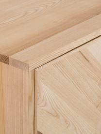 Sideboard Leif mit Türen aus massivem Eschenholz, Korpus: Massives Eschenholz, lack, Griffe: Metall, beschichtet, Füße: Metall, pulverbeschichtet, Eschenholz, 177 x 75 cm