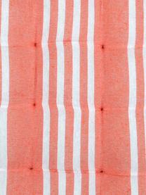 Gestreiftes Sitzkissen Mandelieu in Koralle, Baumwollgemisch, Koralle, Weiß, 40 x 40 cm