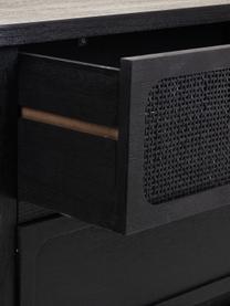 Ladekast Cayetana van hout, Frame: gelakt MDF, Poten: bamboehout, gelakt, Handvatten: gelakt metaal, Zwart, 120 x 61 cm