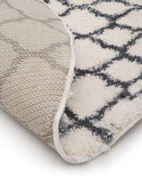 Flauschiger Hochflor-Teppich Mona in Cremeweiß/Dunkelgrau, Flor: 100% Polypropylen, Cremeweiß, Dunkelgrau, Ø 150 cm (Größe M)