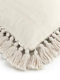 Kissenhülle Martina mit dekorativer Verzierung und Fransen, 100% Baumwolle, Beige, 45 x 45 cm