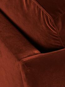 Divano 2 posti in velluto rosso ruggine Paola, Rivestimento: velluto (poliestere) 70.0, Struttura: legno di abete rosso mass, Piedini: legno di abete rosso, dip, Velluto rosso ruggine, Larg. 179 x Prof. 95 cm