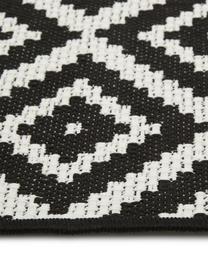 In- & outdoor vloerkleed met patroon Miami in zwart/wit, 86% polypropyleen, 14% polyester, Crèmewit, zwart, B 80 x L 150 cm (maat XS)