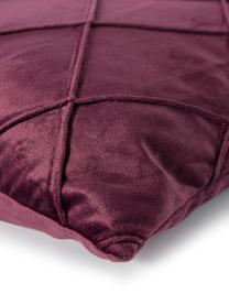 Federa arredo in velluto con motivo a rombi Nobless, 100% velluto di poliestere, Vino rosso, Larg. 40 x Lung. 40 cm