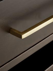 Cassettiera con piano in vetro Lyle, Mensola: vetro, Legno di mango, scuro verniciato, Larg. 100 x Alt. 82 cm