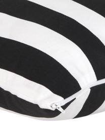 Gestreifte Kissenhülle Timon in Schwarz/Weiß, 100% Baumwolle, Schwarz, Weiß, 45 x 45 cm