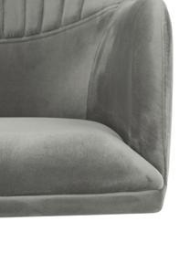 Sedia girevole in velluto con braccioli Lola, Rivestimento: velluto (100% poliestere), Gambe: metallo zincato, Velluto grigio pietra, gambe oro, Larg. 52 x Prof. 57 cm