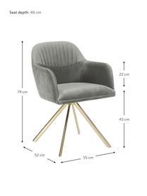 Samt-Drehstuhl Lola mit Armlehne, Bezug: Samtpolyester Der hochwer, Beine: Metall, galvanisiert, Samt Steingrau, Beine Gold, B 55 x T 52 cm